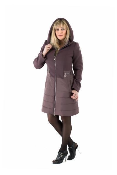 Пальто комбинированное женское осень-весна «ODRI» (цвет шоколадный)