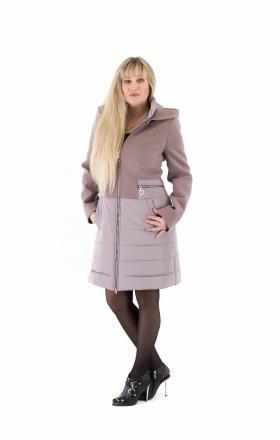 Пальто комбинированное женское осень-весна «ODRI» (цвет тёмно-бежевый)