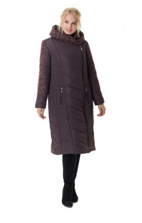 Winter double-breasted down-padded coat on BABOCHKA 19 synthetic winterizer (color burgundy)