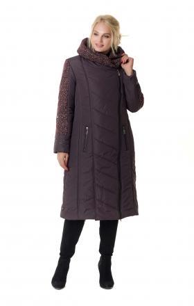 Зимнее двубортное пальто-пуховик на синтепоне BABOCHKA 19 (цвет бордовый)