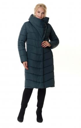 Women's winter down jacket with silicone PATRICIA (dark emerald)