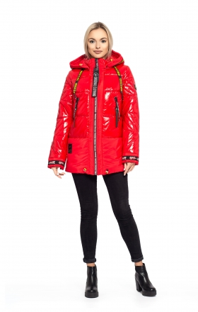 Women's winter jacket OFF WHITE (red)