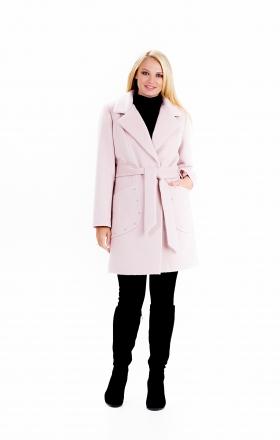 """Пальто женское весеннее с поясом """"ALPAKA"""" (цвет розовый)"""