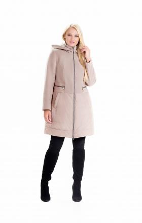"""Пальто жіноче комбіноване осінь-весна """"ODRI» (колір бежевий)"""