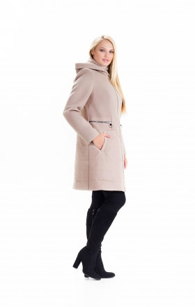 Пальто комбинированное женское осень-весна «ODRI» (цвет бежевый)