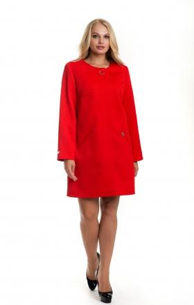 Жіночий червоний плащ - кардиган з хвилястим дизайном SHARLOTA