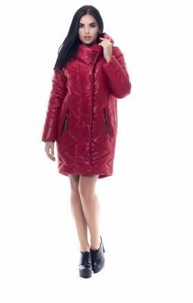 Women's down jacket with silicone MELISSA (red color)