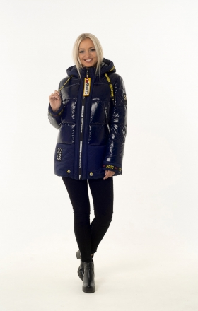Women's winter jacket OFF WHITE (color dark blue)