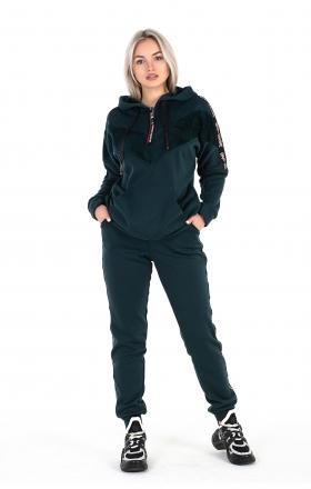 Женский спортивный костюм (цвет тёмно-зеленый)