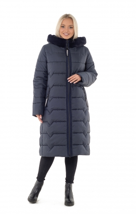 Down-padded coat female winter on BETTY UPG silicone (color blue)